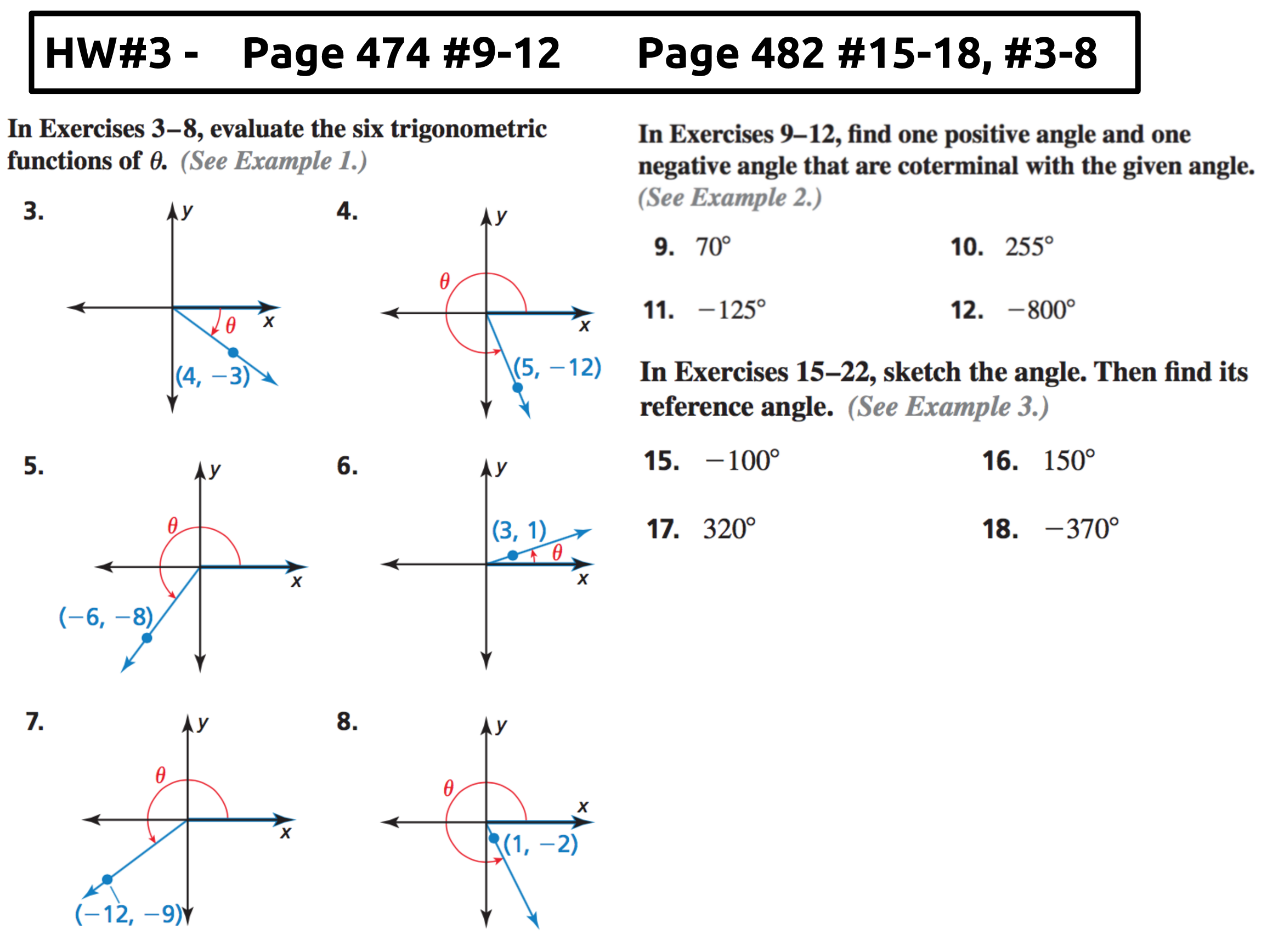 Algebra II Page 3 Mx Epstein – Coterminal Angles Worksheet