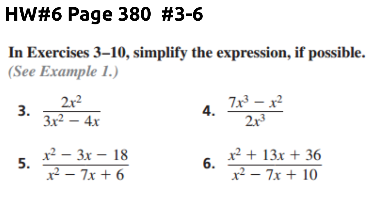 Homework Help Simplifying Rational Expressions -